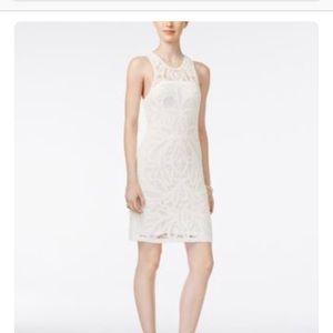 Bar III White Lined Crochet Dress